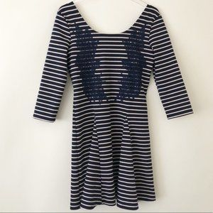 Free People Striped Mini Fit and Flare Dress